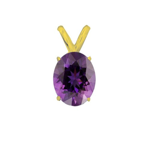 14K Gold Amethyst February Birthstone Pendant Oval 6x4mm (GP-1125)