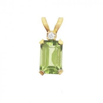 14K Gold Genuine Peridot August Britsthone Pendant Emerald Cut , With Diamond (GP-1104)