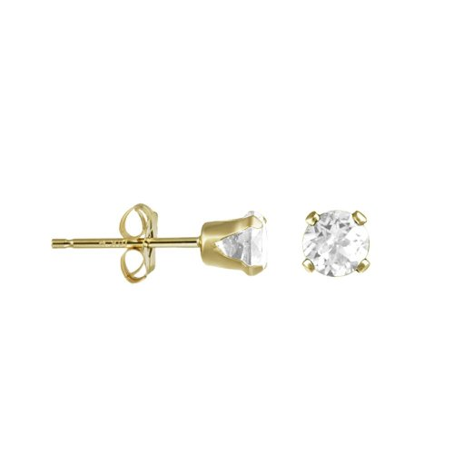 14K Gold White Topaz April Birthstone Stud Earrings Round 5mm (GE-1140)