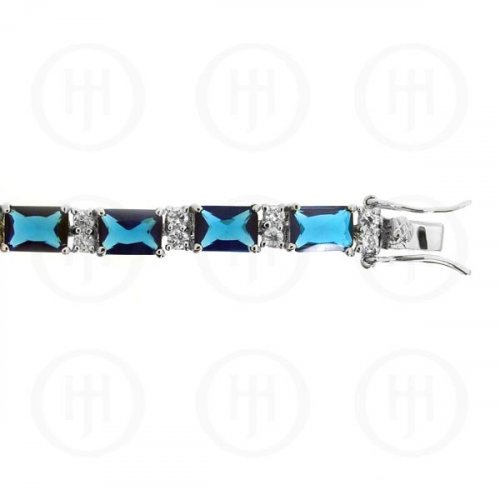 Silver Rhodium Plated Sapphire CZ Emerald Cut Tennis Bracelet (BR-CZ-120-S)