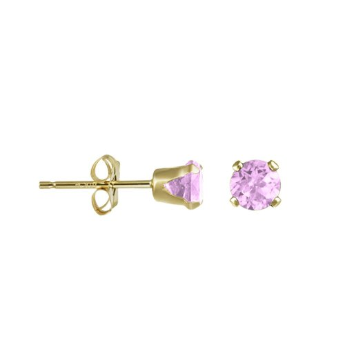 14K Gold Pink CZ October Birthstone Stud Earrings Round 4mm (GE-1141)