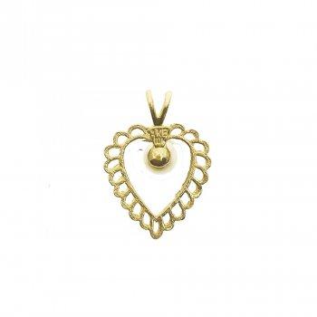 Dangling Pearl Heart Pendant (GP-1025)