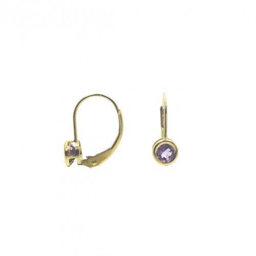 14K Gold Amethyst February Birthstone Leverback Earrings Round 5mm (GE-1145)