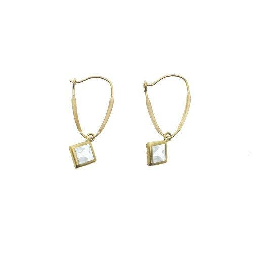 14K Gold White CZ April Birthstone Square Kidney Hook Earrings 6mm (GE-1146)