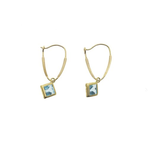 14K Gold Blue Topaz December Birthstone Square Kidney Hook Earrings 6mm (GE-1147)