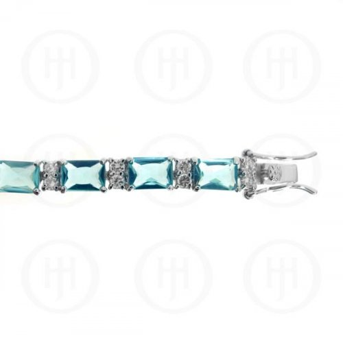 Silver Rhodium Plated Blue Topaz CZ Emerald Cut Tennis Bracelet (BR-CZ-120-BT)