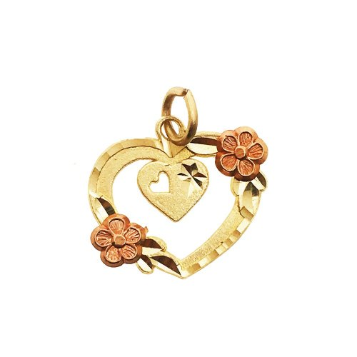 Heart Pendant With Flowers(GP-1028)