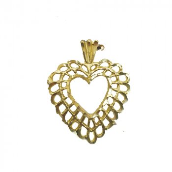 Double Layer Embroidery Heart Pendant (GP-1030)