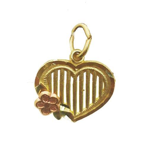 Heart Pendant w/ flower (GP-1032)