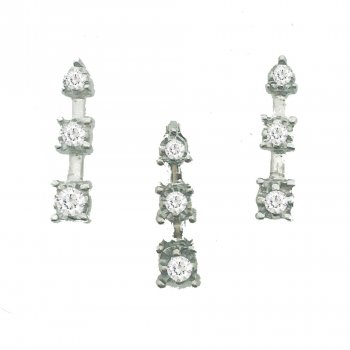 14K White gold and Genuine Diamond Pendant Set (GPS-1037)