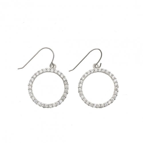 White Gold CZ Hoop Earrings (GE-1038)