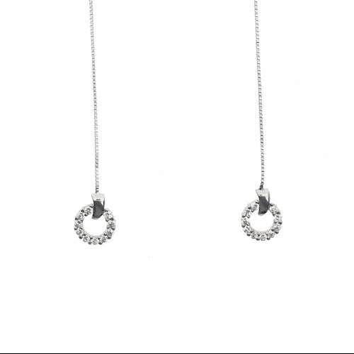 Small White Gold CZ Earrings (GE-1041)