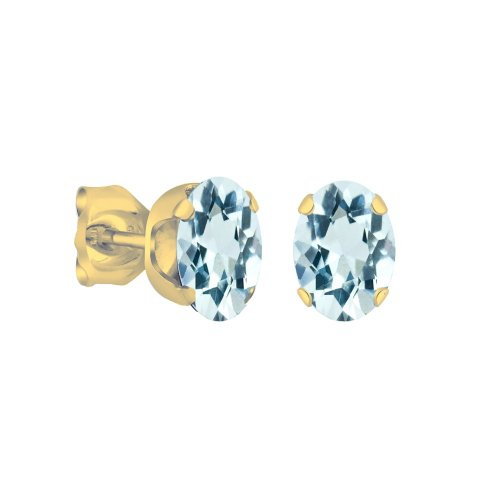 14K Gold Aquamarine March Birthstone Stud Earrings Oval 6x4mm (GE-1144)