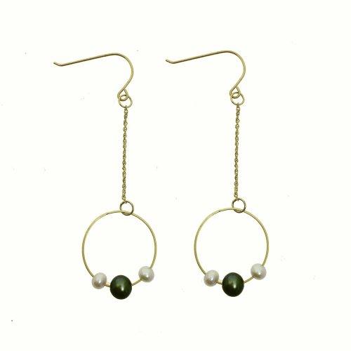Dangling Hoop With Pearl Earrings (GE-1049)