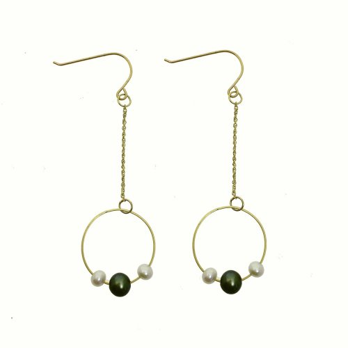 Dangling Hoop With Pearl Earrings (GE-1049)
