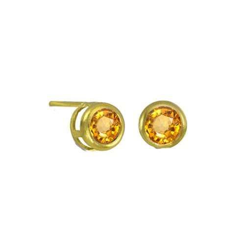 Small Bezzled Citrine Studs (GE-1051)