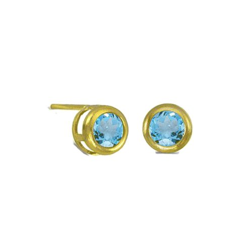 Small Bezzeled BLue Topaz Studs (GE-1052)