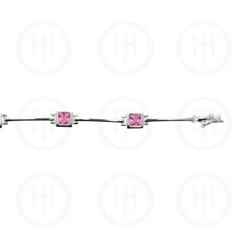 Sterling Silver Pink CZ Square Bezel Tennis Bracelet (BR-CZ-107-P)