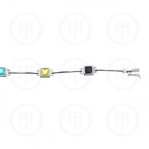 Silver Multi-Colour Square CZ Tennis Bracelet (BR-CZ-107-M)