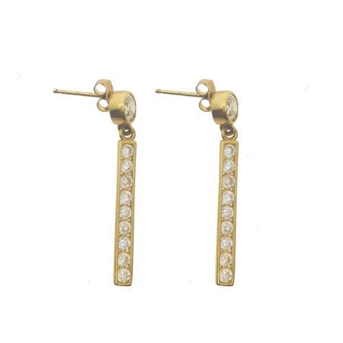 Dangling CZ Bar Earrings (GER-1065)