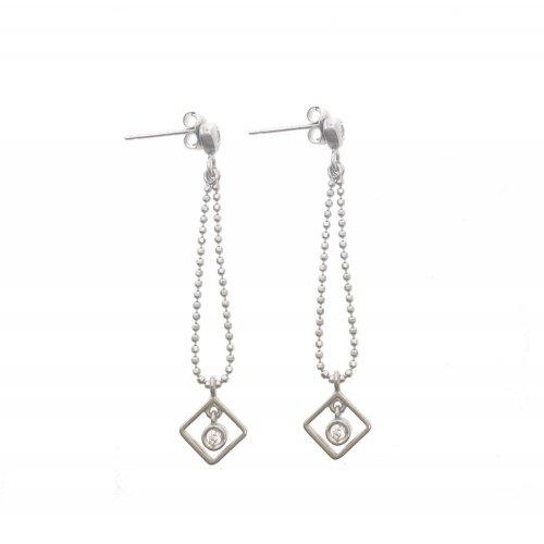 Dangling Heart and Diamond CZ Earring (GE-1066)