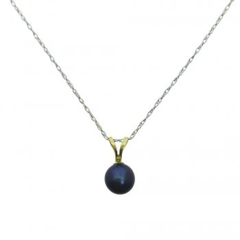 White Gold Blue Pearl Pendant Necklace (GP-1069)