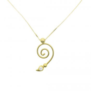 CZ Swirl Pendant Necklace (GP-1070)