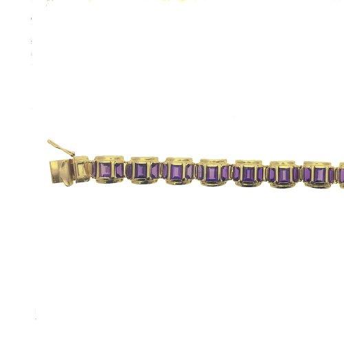 Large Rectangle Cut Amethyst Huggie Chain (GC-1074)