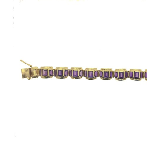 Large Rectangle Cut Amethyst Huggie Chain (GC-1074)