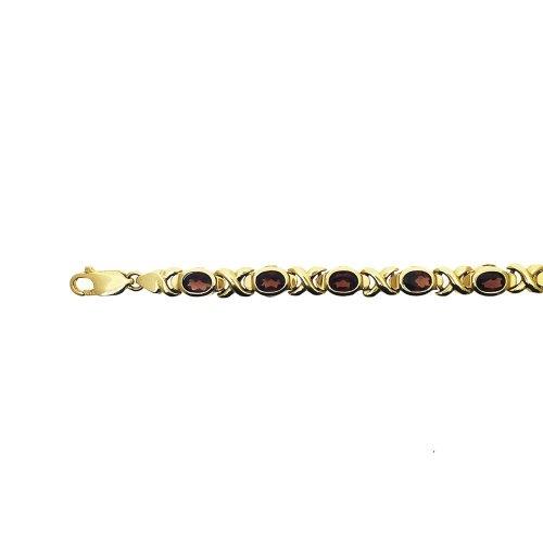 Oval Garnet Link Chain (GC-1084)