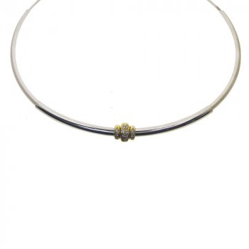 White Gold CZ Loop Necklace (GC-1096)