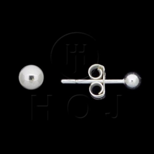 Silver Ball Stud Earrings 3mm (ST-1003-3)