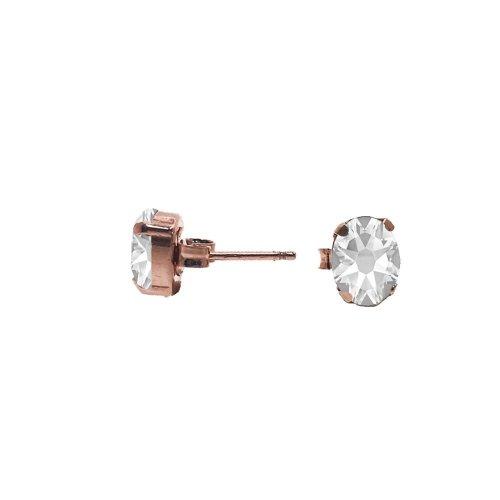 Sterling Silver Rose Plated Clear Swarovski Stud Earrings (ST-1247-R)