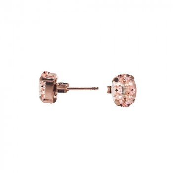 Sterling Silver Rose Plated Morganite Swarovski Stud Earrings (ST-1247-R-M)