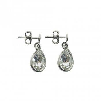 Sterling Silver Swarovski Pear Dangle Stud Earrings (ER-1247)
