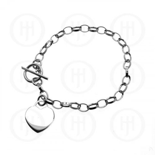 Sterling Silver Tiffany Inspired 'LIGHT Rhodium Plated With Heart Dog Tag (TH-3R)