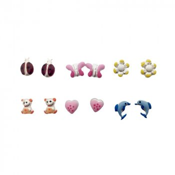 Pack of 6 Assorted Sterling Silver Enamel Baby Stud Earrings (ST-1249)