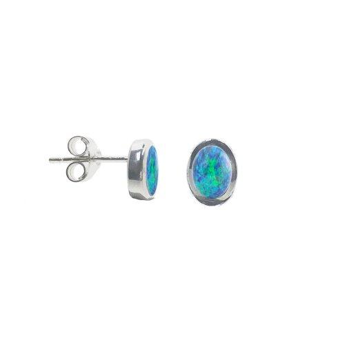 Oval Blue Topaz Bezzeled Studs (ST-1245)