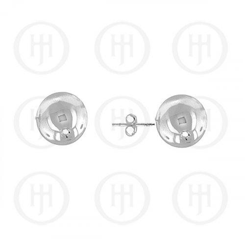 14K White Gold Earrings Ball Stud 8mm(WG-BE-8-14k)
