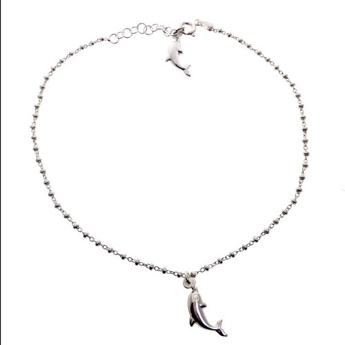 Sterling Silver Italian Hollow Dolphin Anklet (ANK-1061)