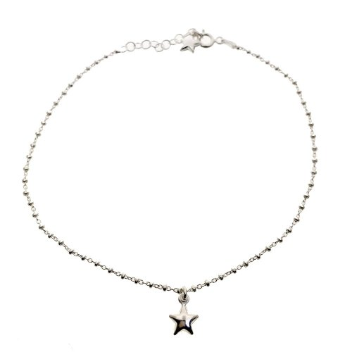 Sterling Silver Italian Hollow Star Anklet (ANK-1062)