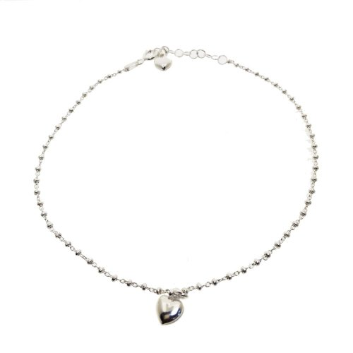 Sterling Silver Italian Hollow Heart Anklet (ANK-1063)