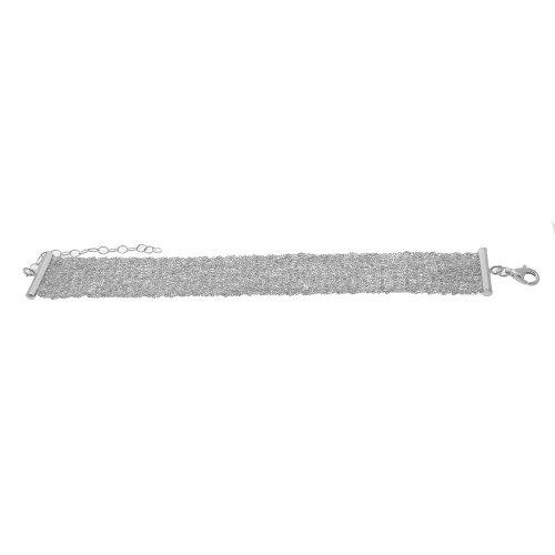 Sterling Silver Mesh Chain Scarf Bracelet 10mm (SC-1007)