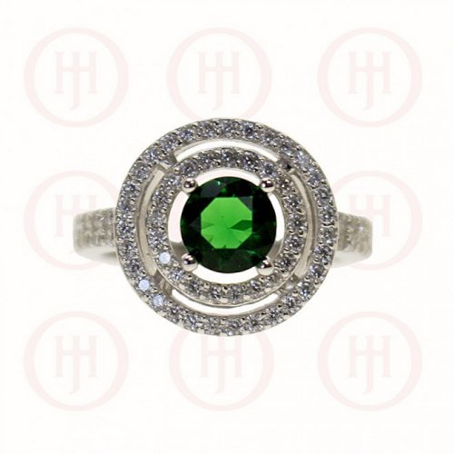 Silver Double Halo & CZ Emerald Ring (R-1263-E)
