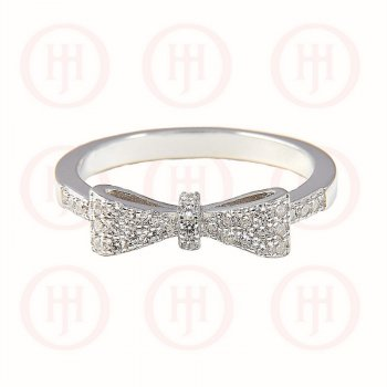Sterling Silver CZ Bowtie Ring (R-1173)