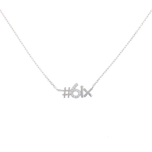Sterling Silver CZ The 6ix Necklace (N-1249)