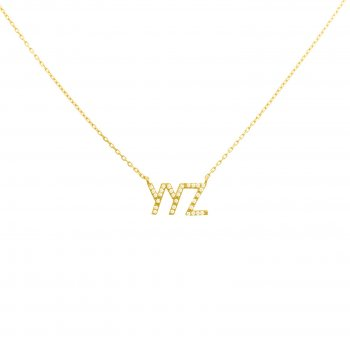 Sterling Silver CZ YYZ Necklace (N-1247)