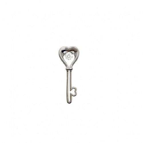 Sterling Silver Dancing Diamond CZ Heart Key Pendant (P-1375)