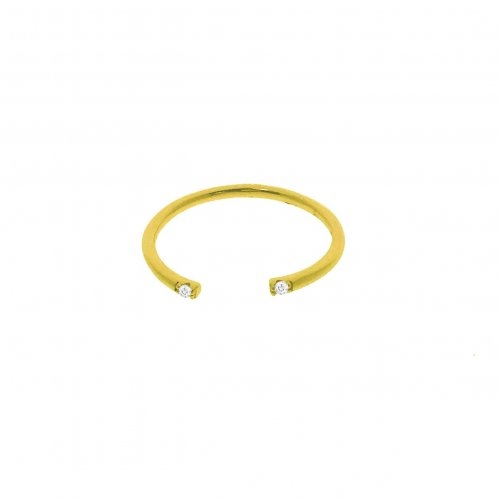Open Gold Ring with CZ`s on Each End (R-1335-G)