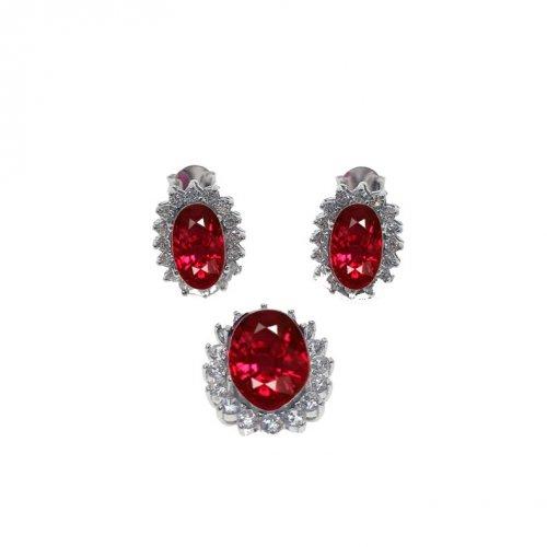 Sterling silver CZ Royal Bezzeled Ruby Pendant Set (PS-1024-R)